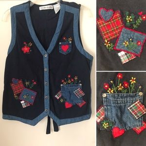 1990's Vintage Jean Embroidered Plaid Floral Vest